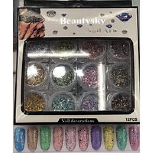 Набор декора для ногтей,цветная стружка