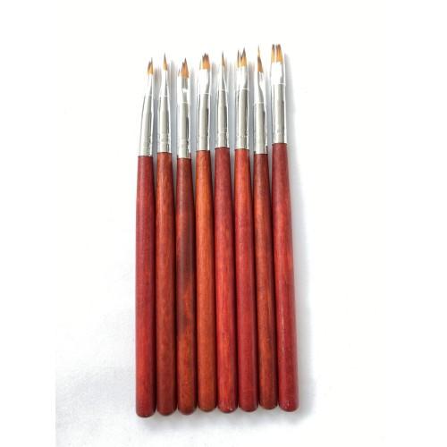 Кисть для ДИЗАЙНА НОГТЕЙ , деревянная ручка набор 8 шт