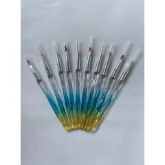 Кисти для росписи ногтей полупрозрачная ручка  набор Радуга (10 шт/уп.)