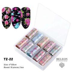 Новинка!Набор фольги для маникюра -рисунки,10 штук в упаковке, цветочный принт