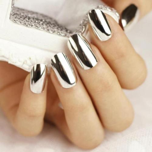 Втирка зеркальная для дизайна ногтей серебро