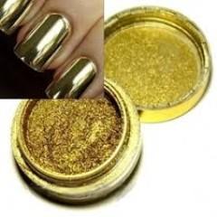 Втирка зеркальная для дизайна ногтей золото