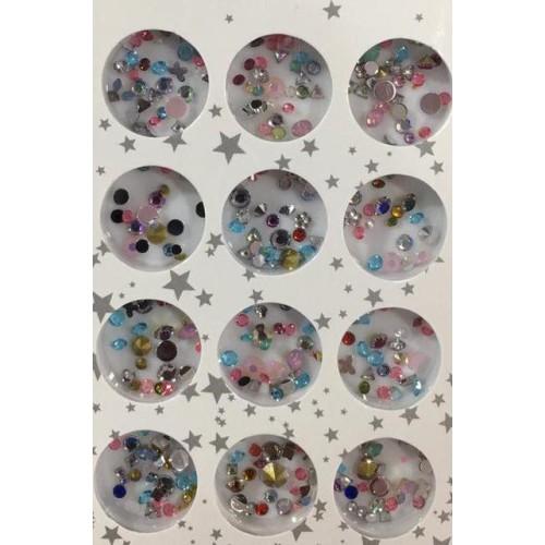 Набор цветных камней разных размеров для дизайна ногтей