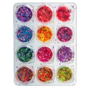 """Набор для дизайна ногтей """"Конфетти - Камифубуки"""" 12 шт в пластиковом контейнере"""