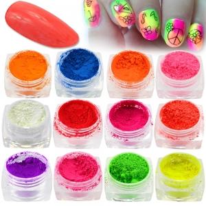 """Набор для дизайна ногтей """"Яркий пигмент"""" 12 шт в пластиковом контейнере"""