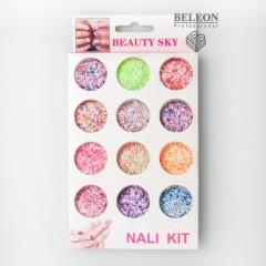 Набор паеток конфети с стружкой, для дизайна ногтей, яркие цветные