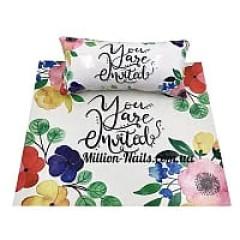 Подлокотник для маникюра с ковриком, с рисунками(Цветы)