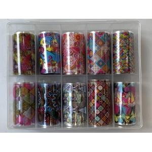 Новинка!Набор фольги для маникюра -Цветы,10 штук в упаковке