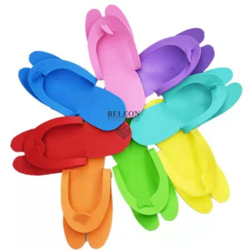 Тапочки одноразовые вьетнамки для педикюра/солярия (пенелон 2,5 мм, цветные) 12 пар упаковке (Цвет в ассортименте )