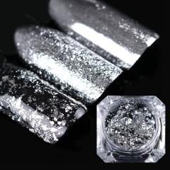Набор жатой фольги для дизайна ногтей  (серебро ) 12 шт