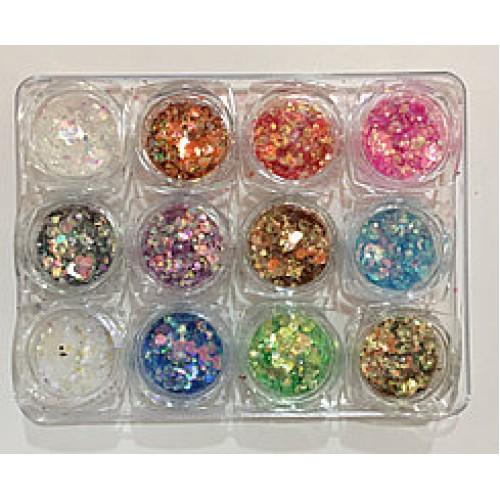Новинка!Набор цветных конфети для дизайна ногтей