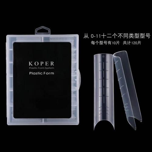 Пластиковые формы квадрат для верхних типс Koper, 120 штук в упаковке